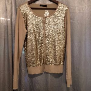 The Limited Tan and Gold Sequin Cardigan NWT!